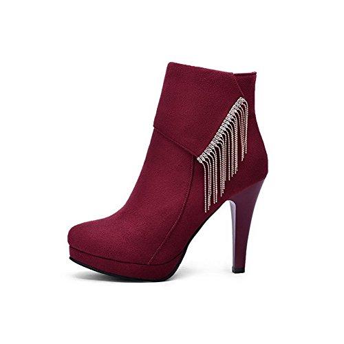 AgooLar Damen Niedrig-Spitze Reißverschluss Eingelegt Mattglasbirne Stiefel mit Anhänger, Weinrot, 38