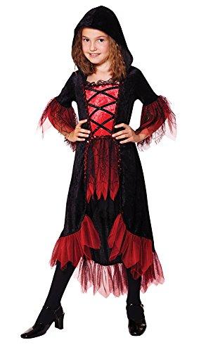 Vampir Gothic Kostüme Girls (Mädchen Vampirkleid mit Kapuze Kinder Kostüm Halloween Vampirin Gothic)