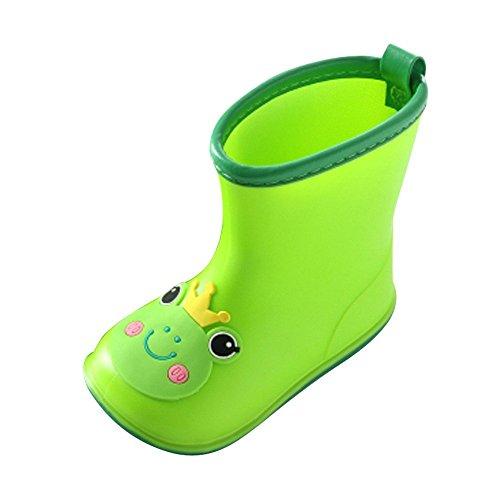 Cooljun Säugling Baby Tier Regenstiefel Kinderstiefel Rain Boot Gummistiefel Kinderschuhe Kleinkinder Wasserdicht Gummistiefeletten (26, Frosch (Grün)) -