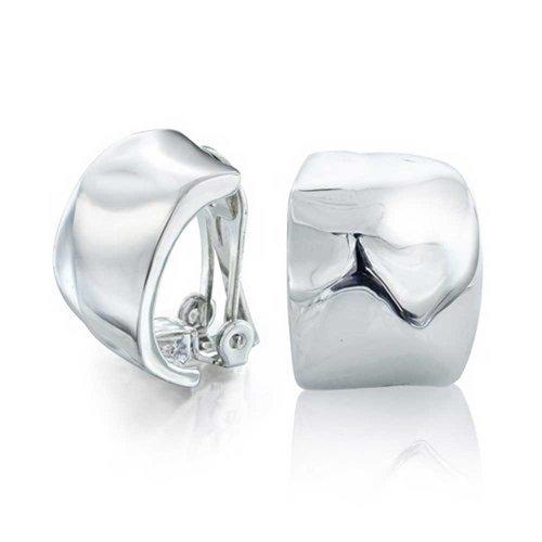 Geometrische GehäMMert Hälfte Creolen Ohrclips Ohrringe Für Damen Nicht Durchstochene Ohren Poliert Versilbertes Messing