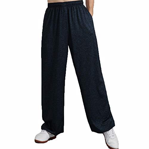 llh Frauen Und Männer Zen Meditation Lange Hosen Milch Seide Tai Chi Uniform Chinesisches Kung Fu Kleidung Leinen Yoga Anzug Kampfkunst Bequem Atmungsaktiv,NavyBlue-S