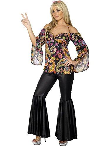 60er Jahre Hippie-Kostüm für Damen - mit Schlag - Retro-Look - Größe (Kostüme Woodstock)