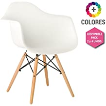 Silla Eames DSW - Tower Wood con Reposabrazos Blanca