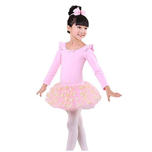 Bequemes Trikotanzug Ballett Langarm Tutu Rock Ballerina Tanz Kostüme, B
