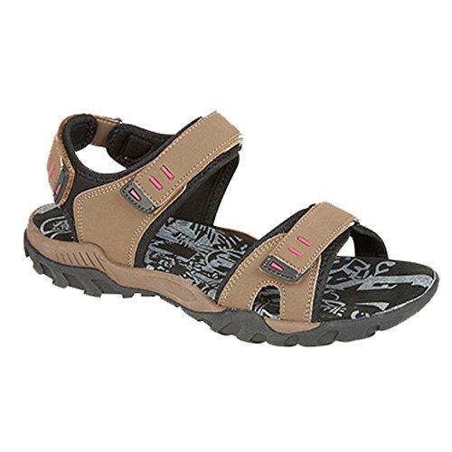 PDQ da donna, colore: nero/tortora Sports Trail-Sandali da passeggio per bambini, chiusura in Velcro, misure UK8 Marrone (Marrone)