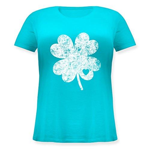 St. Patricks Day - Vintage Kleeblatt mit Herz - S (44) - Hellblau - JHK601 - Lockeres Damen-Shirt in großen Größen mit Rundhalsausschnitt