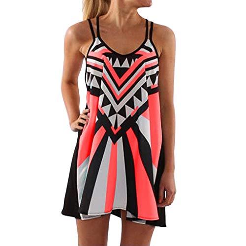 POPLY Mode Frauen Plus Größe Oansatz Leibchen Ärmellos Drucken Einfach Minikleid Holiday Sling Kleid ()