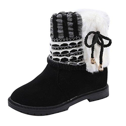 Longra Stivali alti piani caldi della peluche di Bowknot di cuoio dell'unità di elaborazione di modo delle donne solide Nero