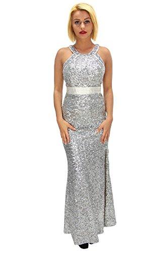 Elegant glänzendes Pailletten maxi Kleid Silber