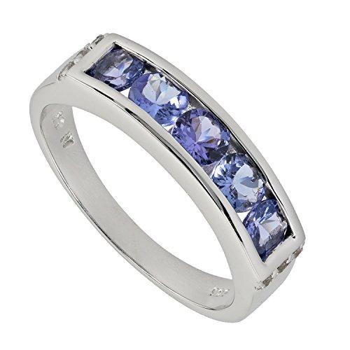 Harry Ivens Damen Ring Sterling-Silber 925 rhodiniert Tansanit AAA Zirkon RW19 (Tansanit Ring Sterling Silber)