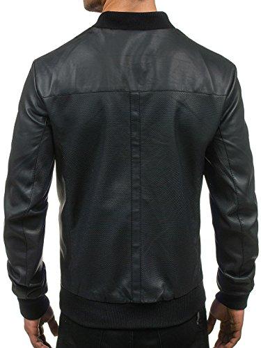 BOLF – Veste – Blouson – Faux cuir – Zip – Col haut – Biker – Motif – Homme [4D4] Noir