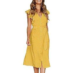 Angashion - Vestido - para Mujer Amarillo de Lunares S (36)
