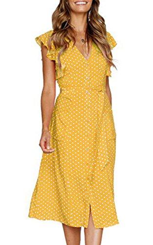 Angashion - Vestido - para Mujer Amarillo de Lunares X-Large (EU 40)
