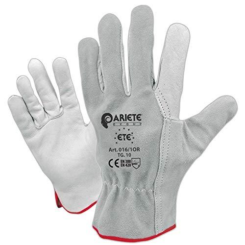 guanti lavoro in pelle Confezione da 12 guanti in fiore di vitello bianco orlato con dorso in crosta taglia 9