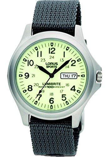 Lorus, RT317EX9,Lumibrite, reloj analógico para hombre, con fecha y día, correa de nailon gris.