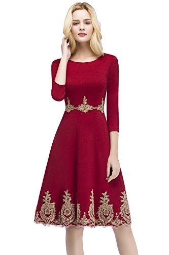 Misshow Damen Abendkleid Rot Feinen Spitze Ballkleid Abendkleid Kurz 3/4 Arm Hochzeitsgast Prom