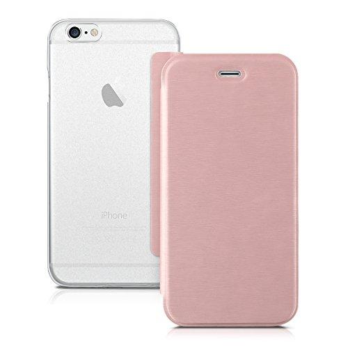 kwmobile Hülle für Apple iPhone 6 / 6S - Bookstyle Case Handy Schutzhülle Kunststoff - Flipcover Klapphülle Rosegold Transparent .Rosegold Transparent