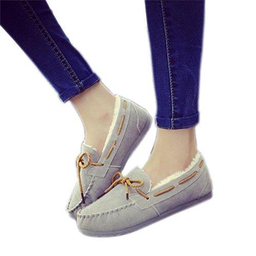 ALUK- Version coréenne de l'automne chaude et l'hiver ainsi que des chaussures plates de velours ( couleur : Violet , taille : 39 ) Gray