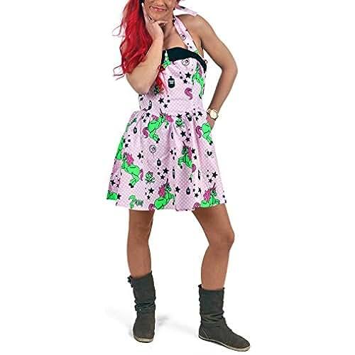 unicornios kawaii Hell Bunny Tirantes vestido I Heart Zombies Rosa