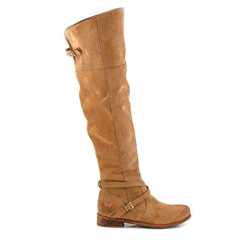 Felmini - Chaussures Femme - Tomber en amour avec Bertha 9925 - Hohe Bottes à fermeture éclair - Cuir Véritable - Marron Marron