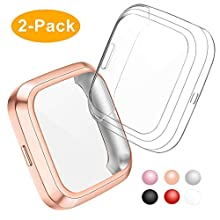 CAVN Compatible with Fitbit Versa 2 Screen Protector, 2 Packs TPU Plated Versa 2 Screen Protector Case Rugged Cover Full-Cover Scratch-Proof Protective Bumper Shell Case for Versa 2 Smartwatch