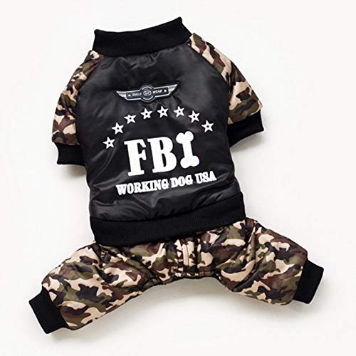 Durobayuusaku Winter Hotdog Vierbeiner Kleid Hundemantel FBI Buchstabedrucken Tarnkleidung Kostüm Overall Baumwolljacke Mantel