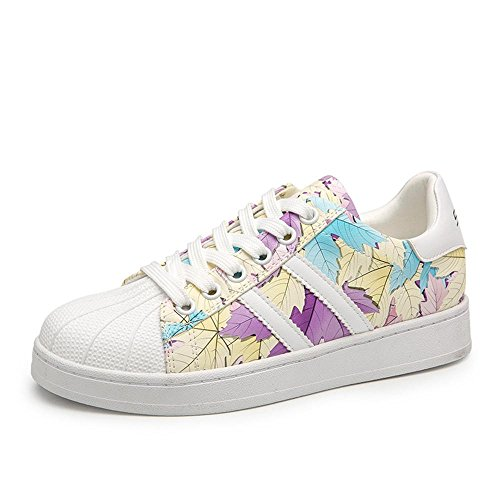 La Shell Donne Toe-Low Top Lace Leisure Pattini Calzatura. Viola bianco