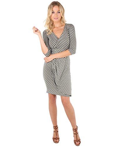 KRISP Damen Jersey Stretch Wrap Kleid Wickelkleid Khaki/Weiß (6487)