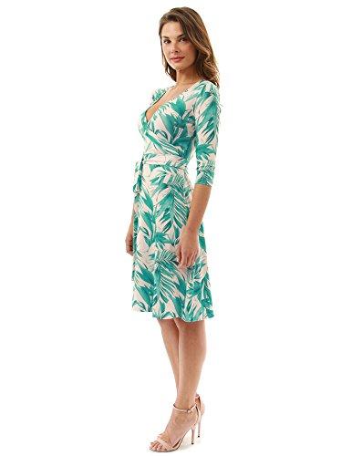PattyBoutik Damen geometrisches faux wrap Sonnenkleid mit V-Ausschnitt grün und beige 16