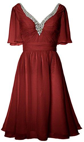 MACloth Women Short Sleeves Mother of Bride Dress V Neck Evening Formal Gown Burgundy