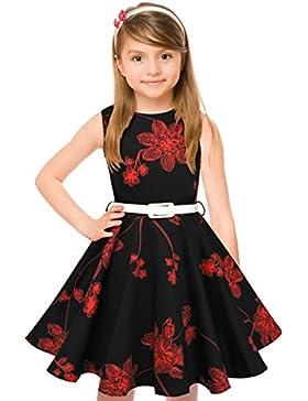 HBBMagic 1950 Vintage vestido de niña cuello redondo sin mangas de algodón Floral Vestidos con cinturón de fiesta