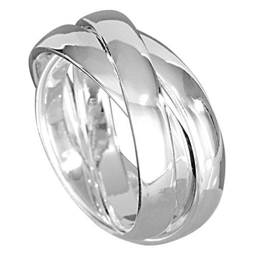 Vinani 3er Ring Wickelring massiv glänzend 3 Ringe beweglich Sterling Silber 925 Dreierring Größe 58 (18.5) R3R58
