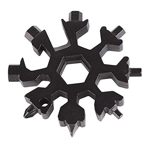 Schlüsselanhänger, 18 in 1, Survival Camping Schlüsselanhänger, Gadget Repair Tool Schneeflocken-Form Schraubenschlüssel, Multi-Tool, schwarz