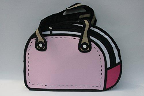 3D-Jump Art-Tasche, Handtasche mit Animation / Zeichentrick-Effekt, Handtasche mit Comic-Effekt (Rosa)