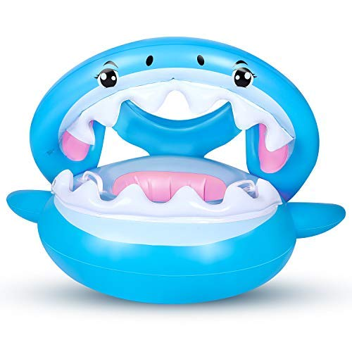 Flyboo Baby Schwimmring mit Sonnendach Hai Schwimmhilfen Aufblasbares Kinderboot Baby Schwimmen Ring Schwimmsitz für Kinderim Alter von 6 bis 36 Monaten