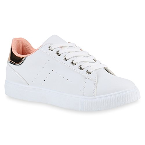 Damen Sneakers Metallic Prints Pailletten Patches Sport Schuhe 141814 Weiss Rose Gold Lack 39 | Flandell®