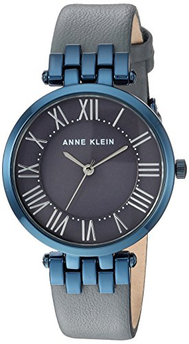 Anne Klein Women's AK/2619GYBL Blue and Grey Leather Strap Watch