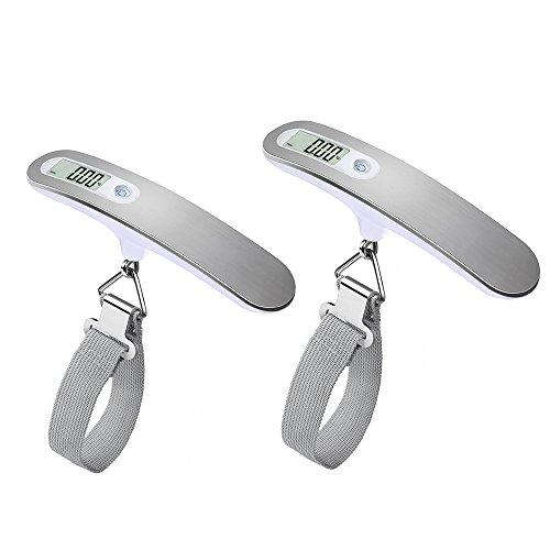 QUMOX 2x Bilancia Digitale Pesa Bagagli Valigie 50kg/110lb Funzione Tara LCD Display Bilancia Pesa Valigie Portatileappeso pesante