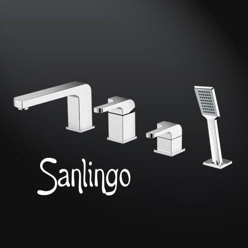 SANLINGO GALATINA - GRIFO DE 4 VIAS CON ALCACHOFA PARA BAñO  DISEñO CUADRADO