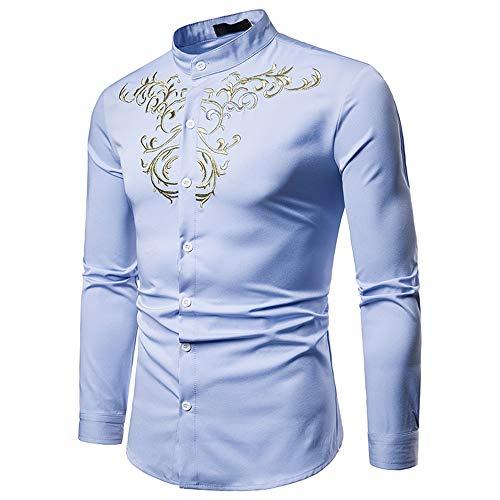 Herrenhemden Lässig, Herren Hipster Gold Stickerei Stehkragen Slim Fit Tops Revers Kragen Langarm Button Down Gentleman Shirt Stylisches Businesshemd (Farbe : Blau, Größe : S) -