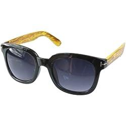 Edle Designersonnenbrille im Wayfarer Design schwarz/helles holz