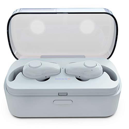 Bluetooth Kopfhörer Kabellos in Ear Ohrhörer Sport Headset Wireless für iPhone Samsung (Weiß)