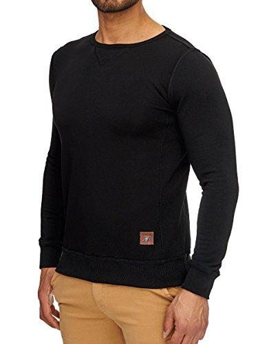 Sweatshirt Langarmshirt Herren Pullover Longsleeve Shirt Slim Fit Schwarz