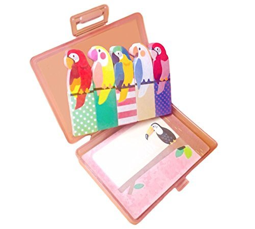 Cute Kawaii Japanese Office and School Supplies Bird Post-it Bookmarks Index Tabs Sticky Flags Note Memo Pad - Portable Hard Plastic Case, Holder Storage Box Stationery Set (Japan Import)