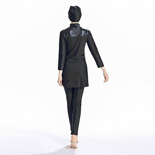 ziyimaoyi Konservative, muslimische Bademode für Frauen islamischen Badeanzug, Hidschab Bademode Full-Bademode Muslimische surfbeachwear Badeanzug, Schwarz, M - 6