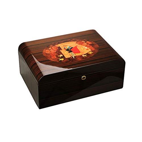 Kosmetiktabletts Zigarrenschachtel - Feuchtigkeitsspendender Zedernholz-Klavierlack Mit Großer Kapazität, Befeuchtender Humidor-Zigarrenkasten