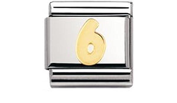 6 030102 Nomination Composable Classic Zahlen Edelstahl und 18K-Gold