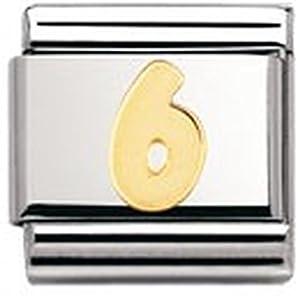 Nomination Composable Classic Zahlen Edelstahl und 18K-Gold (6) 030102