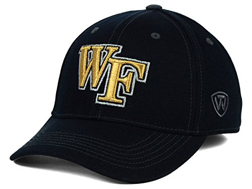 Wake Forest Dämon Diakone NCAA Top of the World schwarz foliert Stitch Logo Stretch Fit Hat Cap, schwarz Top Of The World Stretch-cap