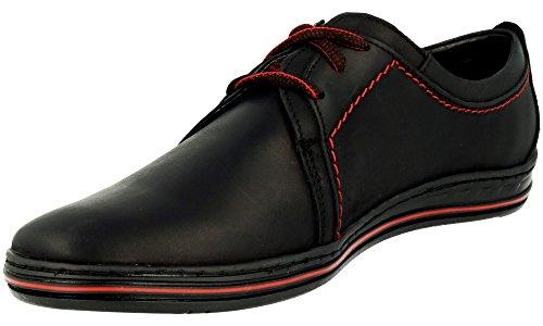Polbut 343 Classic Homme Cuir Chaussures À Lacets Noir